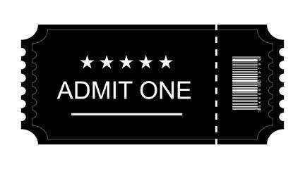 Ticket icon, Ticket flat on blank background, Vector illustration