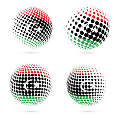 Libya halftone flag set patriotic vector design. 3D halftone sphere in Libya national flag colors isolated on white background.