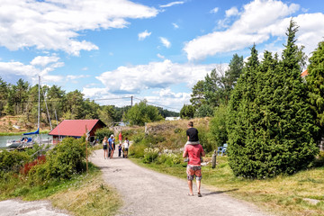Walking on the Island of Harstena belonging to Gryt archipelago in the Baltic Sea