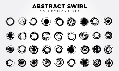 Spiral movement and rotation Design elements set