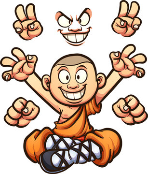 Cartoon monk with different hands and two faces. Vector clip art illustration with simple gradients. Some elements on separate layers.
