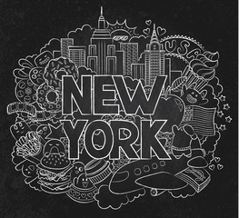 Vector doodle illustration showing Architecture and Culture of New York. Abstract background chalkboard with hand drawn text New York. Template for advertising, postcards, banner, web design