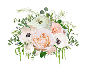 Flower Bouquet vector design object element. Peach pink garden Rose Eucalyptus ranunculus white Anemone Poppy flowers berry herb mix Lovely floral elegant wedding card. All elements isolated, editable