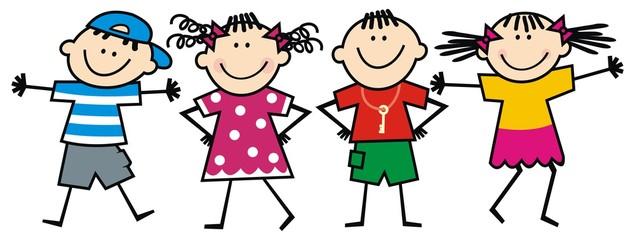 happy kids, vector illustration