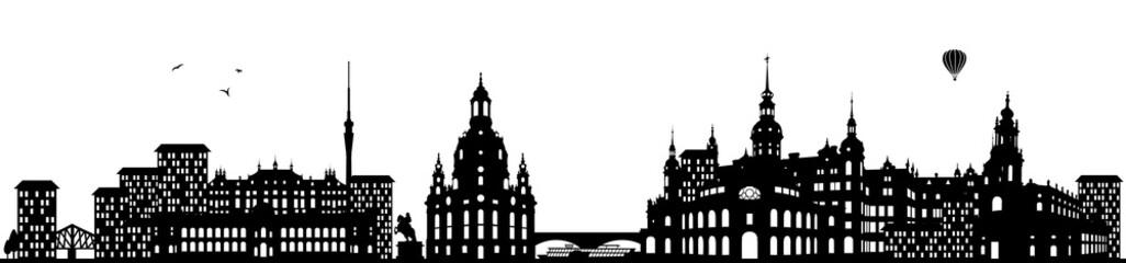Dresden Skyline schwarz