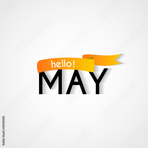 Creative typography greetings of new month hello may lettering creative typography greetings of new month hello may lettering vector illustration with ribbon m4hsunfo
