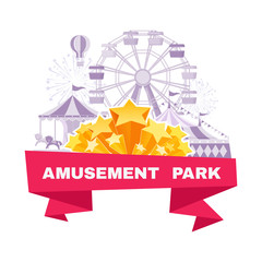 Amusement park banner with different carousels, swings and ferris wheel