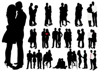 Vector, isolated, black and white silhouettes in love couples, collection