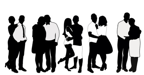 Vector, isolated, black and white silhouettes in love couples, guy and girl