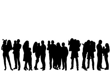 Vector, isolated, silhouette family, people with children