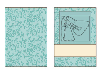 Vector, wedding invitation, wedding card, contours of the bride and groom, turquoise
