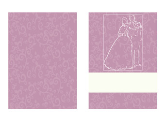 wedding invitation, greeting card for wedding, contours of bride and groom, pink