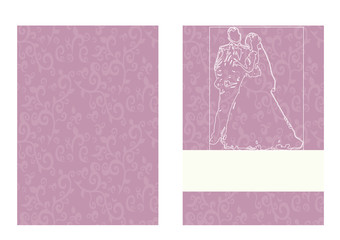 Wedding card with bride and groom, pink