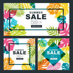 Summer sale vector banners set with multicolor palm tree leaves. Tropical background.