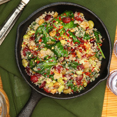 Top View Quinoa Spinach and Cranberry Bake in Cast Iron Skillet