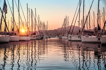 Beautiful sailboats in the dock