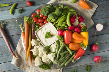 Raw Refreshing Vegetable Crudites Plate