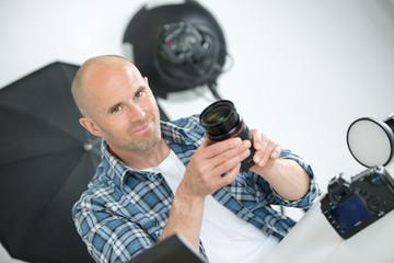 photographer posing in the studio