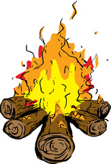 Logs with burning hot flames