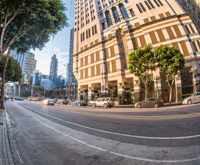 A busy sunset street in Downtown Los Angeles
