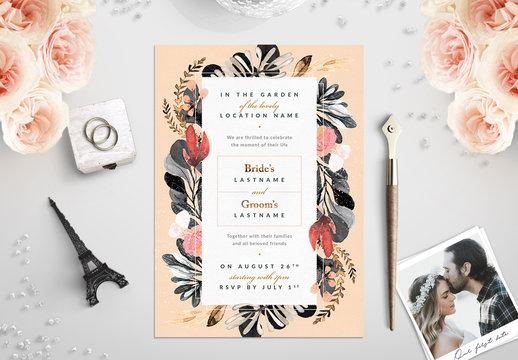 Watercolor Wildflower Wedding Invitation 3