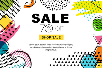 Vector sale banner, poster background. Abstract doodle texture and geometric shapes on white background. Layout for discount labels, flyers and shopping.