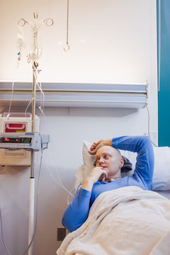 A woman at the hospital for a round of chemotherapy, cancer treatment