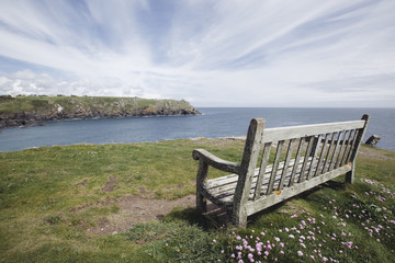 Bench on the English coast