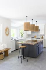 Newly designed kitchen with wood island