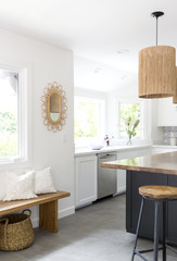 Newly designed kitchen with wood island