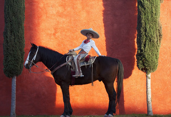 Young Mexican Cowboy sittng on his horse. Mexico