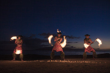 Traditional Hawaiian Fire Dancers