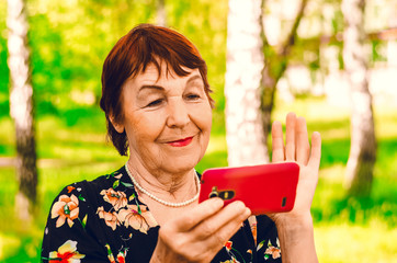Grandmother watching the wireless internet news