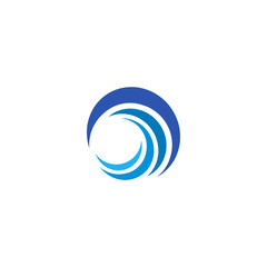 Blue wave logo. Isolated abstract decorative logotype, design element template on white background