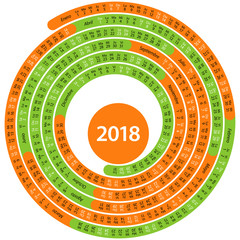 Spanish calendar for 2018 to spiral shape on white background
