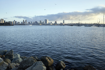 view across Coronado Bay as the early morning Southern California sun warms up San Diego
