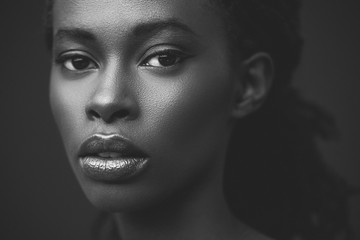 African Woman in Black and White