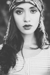 Black and white young woman portrait