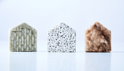 House shapes made from building materials