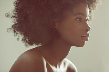 Close up of young woman with natural hair