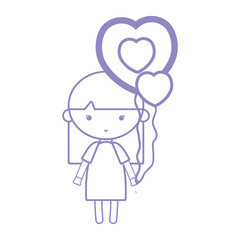 silhouette beauty girl with heart balloons and hairstyle design
