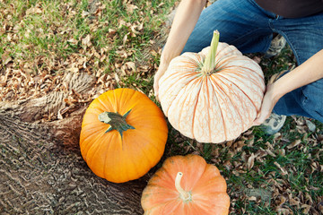 Autumn: Woman Decorating Yard with Pumpkins