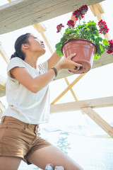 Woman Hanging a Potted Flower