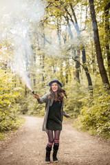 Woman Playing with Smoke Bomb