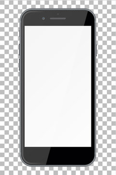 Smart phone with blank screen isolated on transparent background.