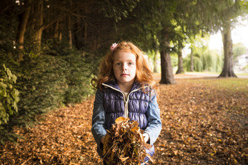 Seven year old girl holding fall leaves