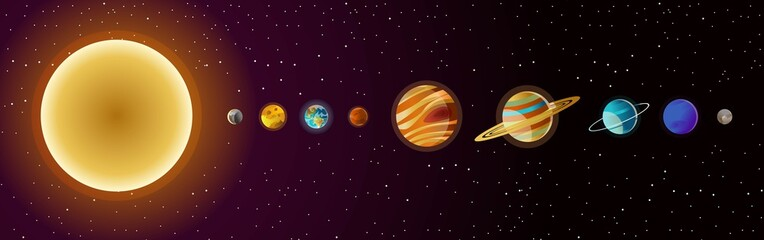 solar system planets and sun Fototapete