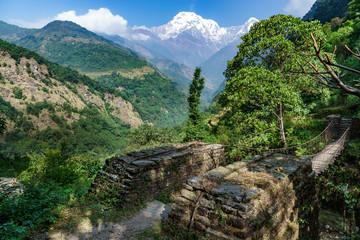 つり橋とアンナプルナ (ネパール)