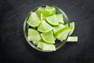 Slate slab with Lime Slices