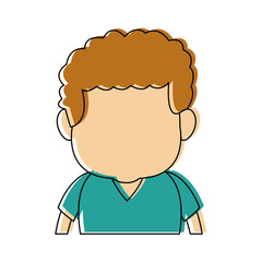 caricature faceless front view half body boy with hairstyle